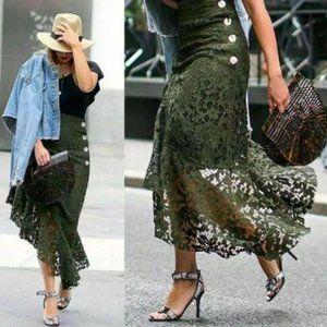 ZARA BOHO Green Olive Asymmetrical Skirt NWOT